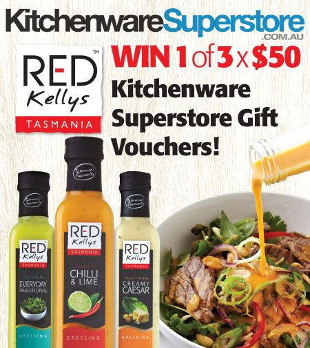 Have you tried our new dressing varieties, Creamy Cajun and Vintage Romano and Chives? Send us a picture of a meal made using one of our new dressing varieties (incl the bottle in the picture too!). The cooks of the meals with the most 'likes' will win one of 3 x $50 Kitchenware Superstore gift vouchers!