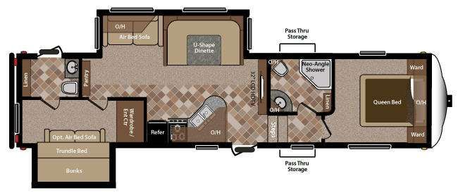 5th wheel rv 2 bathrooms floor plans rv sprinter copper canyon 292fwbhs fifth wheels at Rv with 2 bedrooms 2 bathrooms