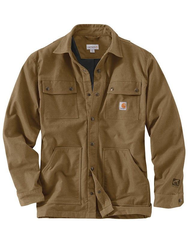 """Carhartt Men's Yukon Full Swing Quick Duck Overland Shirt Jac - This tan-colored shirt jac offers water repellency and freedom of movement. Its """"Full Swing"""" design boasts a full bi-swing back, an underarm gusset, and Carhartt's Flex Elbow with four-way stretch fabric - Lightweight Rain Defender durable water repellent finish Fleece lined Mobility features: Bi-swing back Flex Elbow Freedom Gusset under arms"""