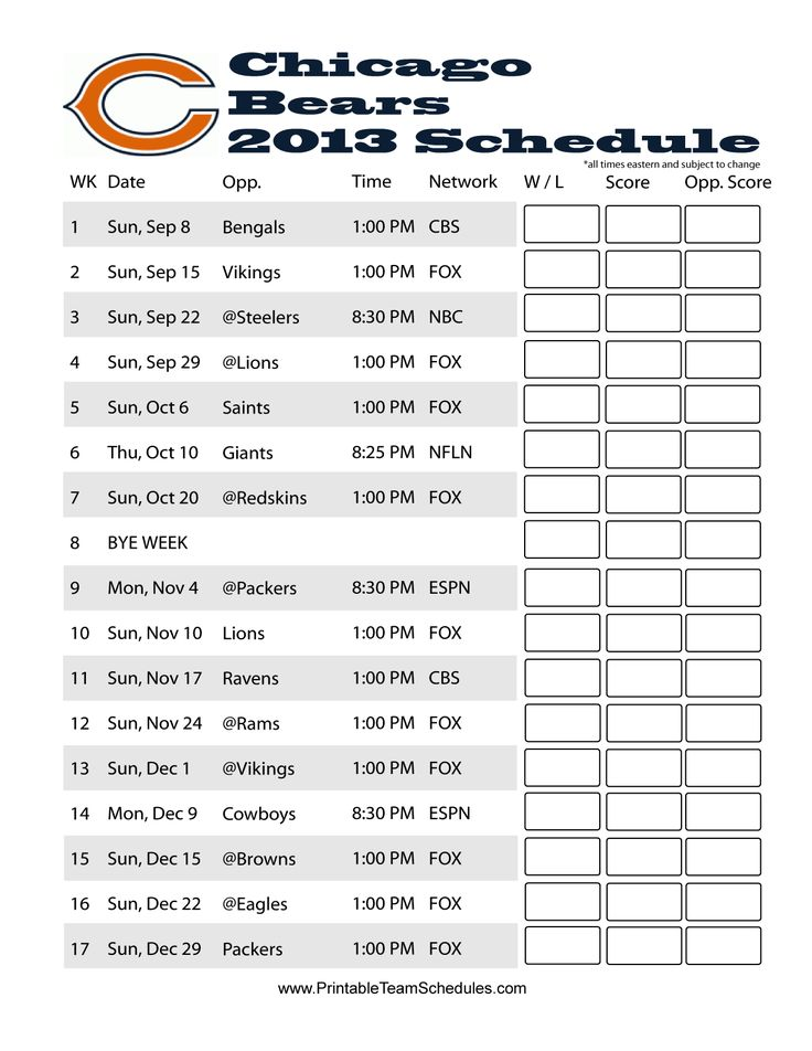 Chicago Bears Printable 2013 Schedule Chicago Bears