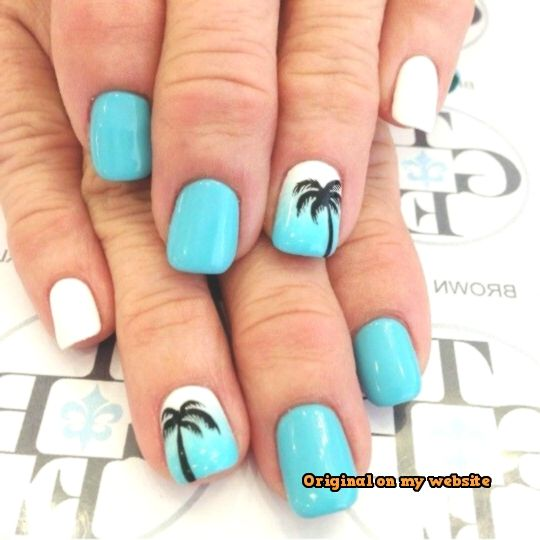 Nail Art Summer 2019 – Pale Blue, White Nails with Palm Trees – Pretty Designs #nailartsommer