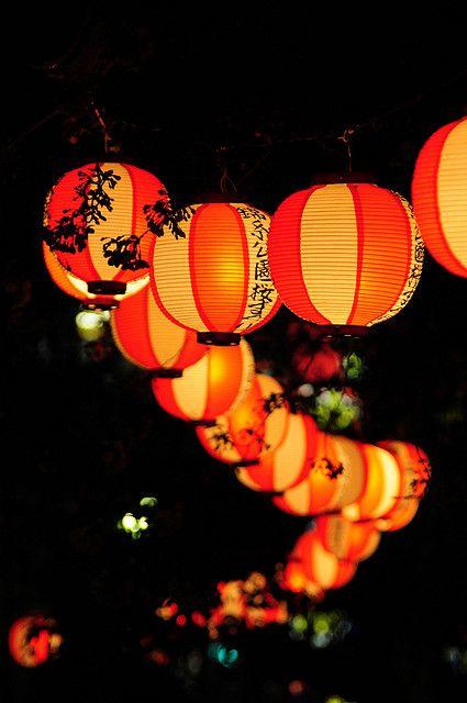 Japanese Orange Party Lanterns