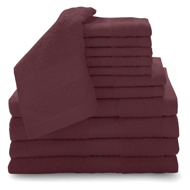 Baltic Linen Company Luxury 12 Piece Cotton Towel Set Cranberry - 353262450