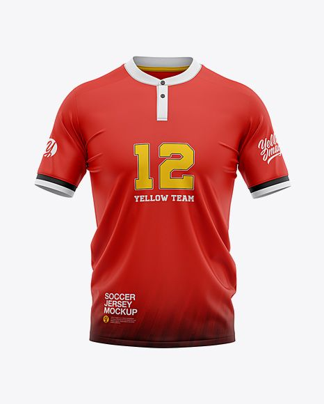 Download Mens Soccer Henley Collar Jersey Mockup Front View (PSD ...