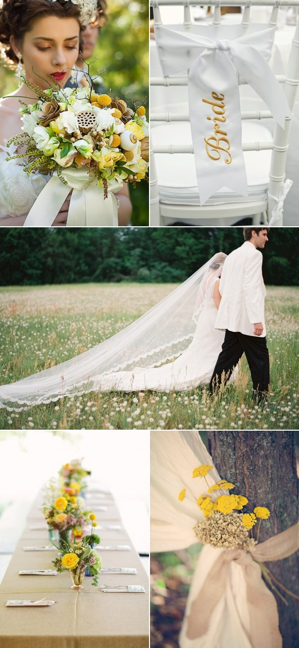 Ivory and yellow wedding decor