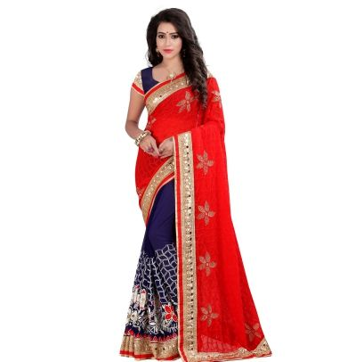Buy Today Dashing Red Color Georgette