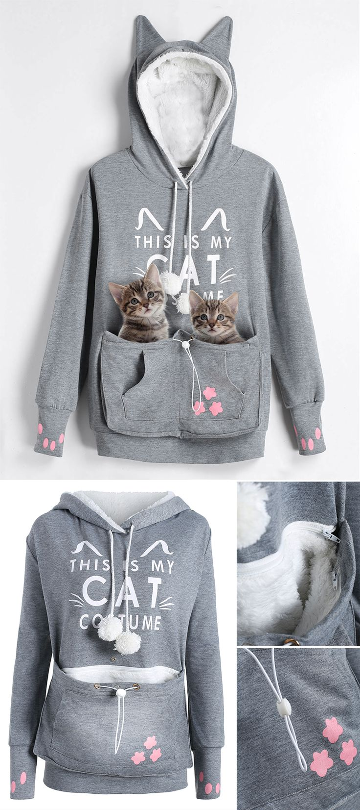 Plus Size Cat Holder Pouch Pocket Hoodie | $15.26 | #catlovers #hoodie #Plussize