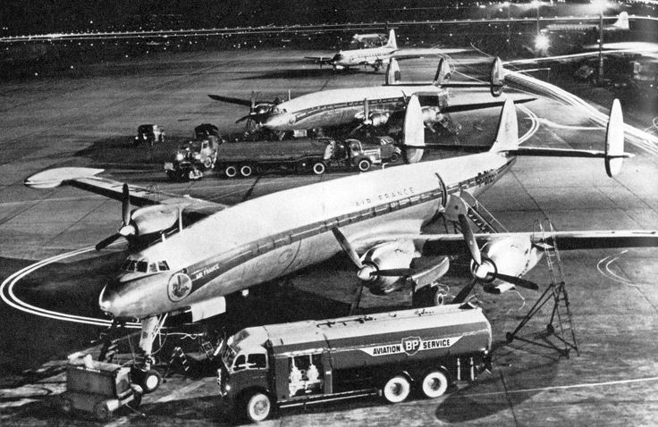 A Foden tanker is seen at Orly Airport Paris refueling a Lockheed Constelation