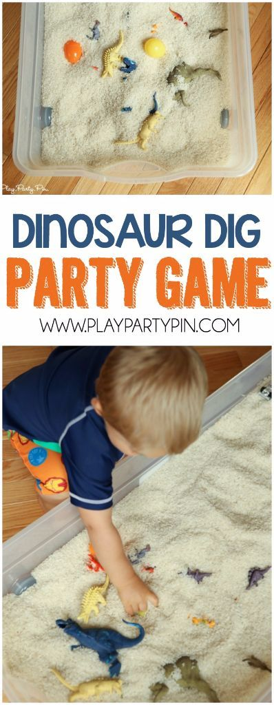 Great dinosaur party games! This dinosaur dig idea is perfect for all dinosaur lovers! - Use cereal so smaller ones can join in too