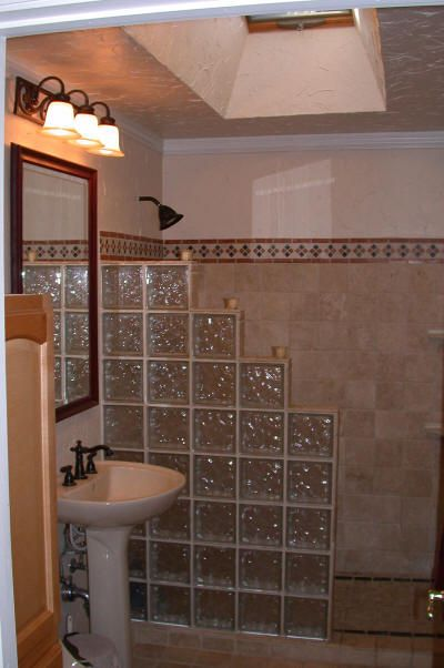 Layout idea, but replace the glass block with solid glass wall or tiled half-wall and solid glass above