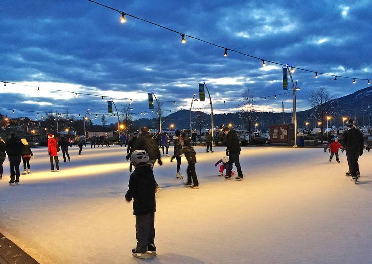 Winter downtown Kelowna. Skating in Stuart Park.