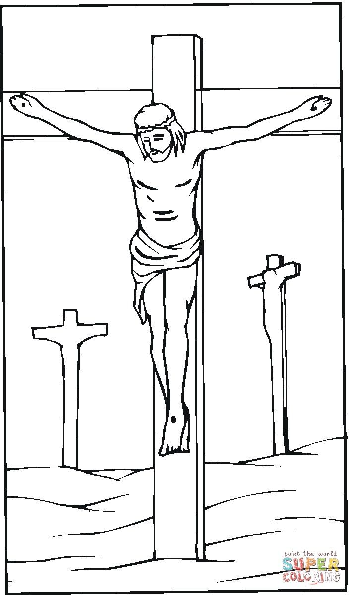 Wonderful Picture Of Jesus On The Cross Coloring Pages Cross