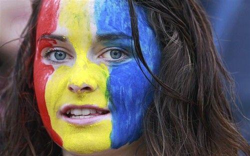 Romania team flag women suporters romanian sport people - romania Photo