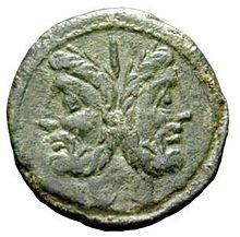 Janus bifrons, sur une monnaie romaine, ier siècle av. J.-C..