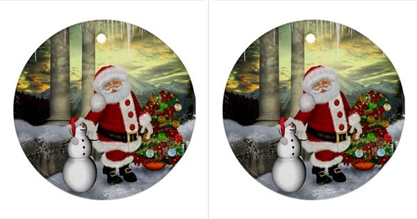 Sanata Claus With Snowman And Christmas Tree Round Ornament (two Sides)