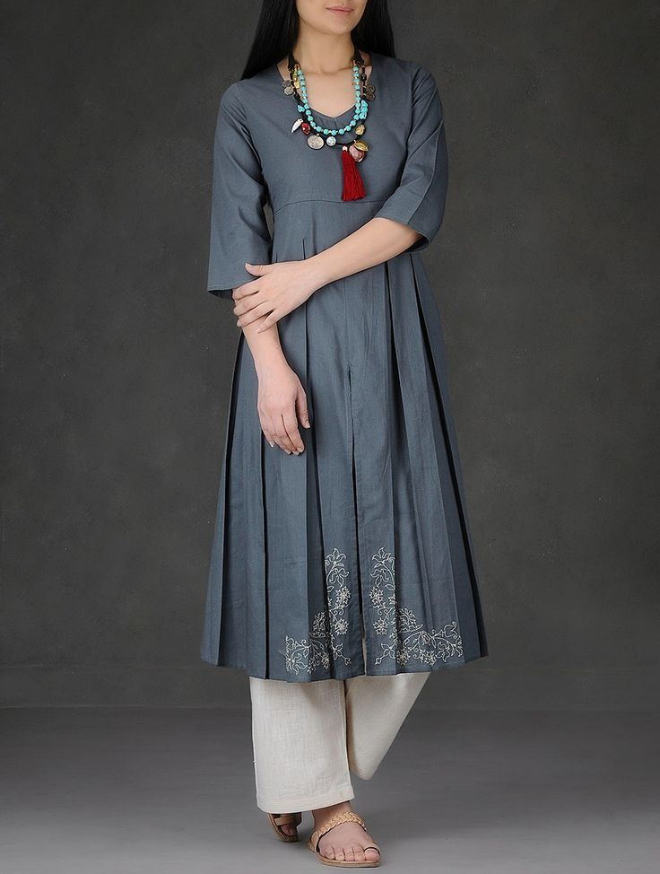 Buy Grey Hand Embroidered and Pleated Cotton Dobby Kurta Women Kurtas Online at Jaypore.com