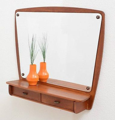 Mid-century-Danish-PEDERSEN-HANSEN-teak-hall-mirror-shelf-drawers-G-Plan-era