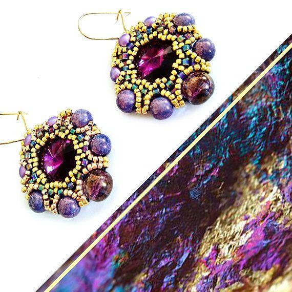 crystal earrings  purple earrings dusty pink earrings grey