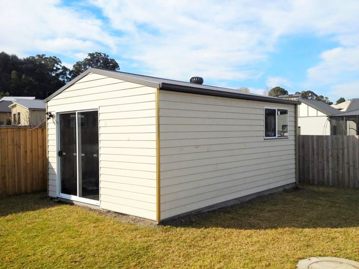 6x4 shed clad with James Hardie FC cladding. Customer was not permitted to build a standard colorbond clad shed due to council restrictions in that area. Real Aussie Sheds constructed this alternative for another happy customer.