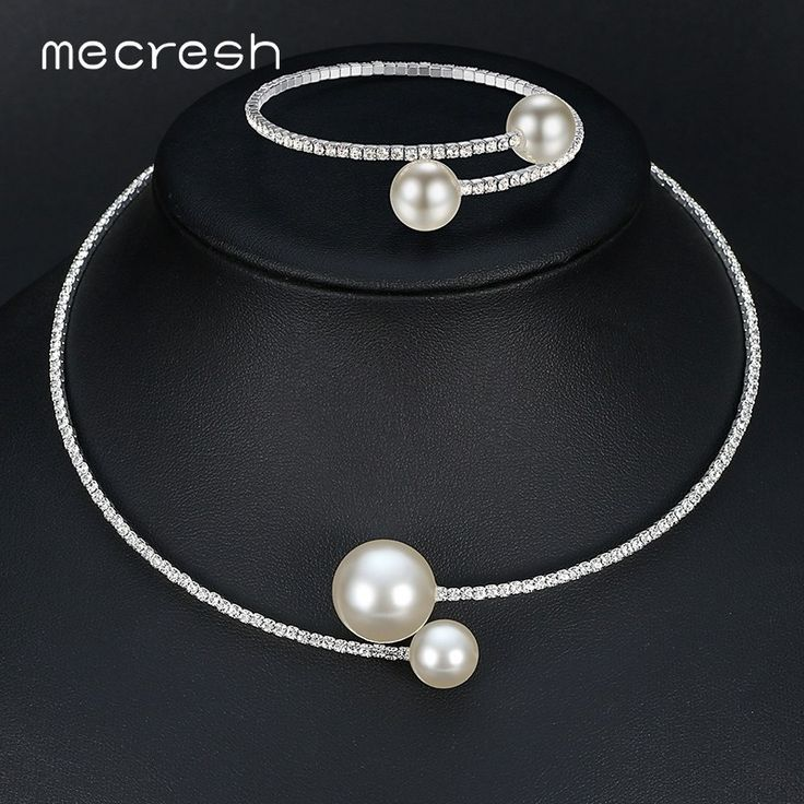 Simulated Pearl Bridal Jewelry Sets Crystal