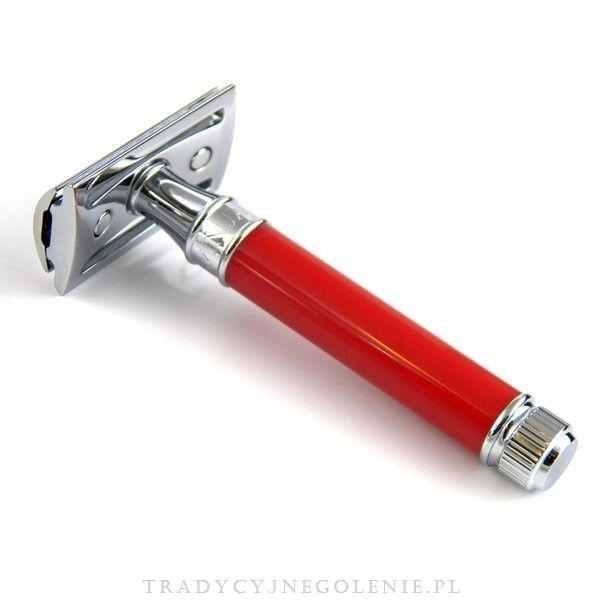 Elegancka tradycyjna maszynka do golenia Edwin Jaggera z rączką w kolorze czerwonym. Zamknięty grzebień, 3 częściowa, chromowana. Każdy szczegół maszynki został dopracowany przez fachowców Edwin Jagger - precyzyjnie wykonany grzebień oraz solidna rączka sprawią, że codzienne golenie jest przyjemnością.