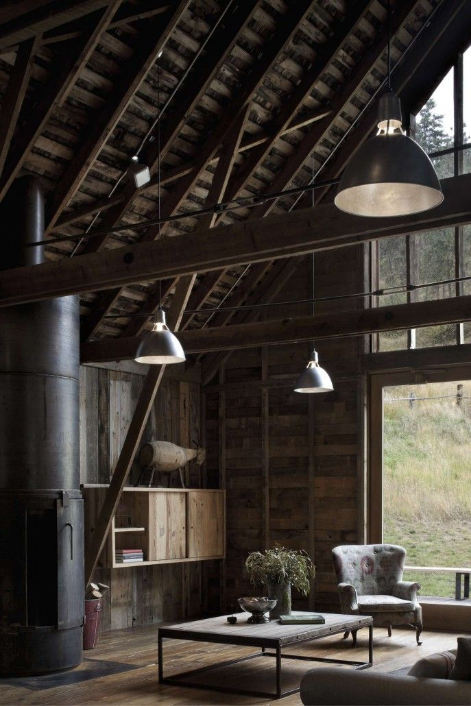 living room and fireplace rustic wooden interior