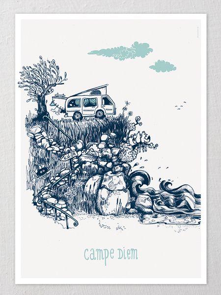 Digitaldruck - A2-Poster mit Campingbus *Campe Diem* Digitaldruck - ein Designerstück von Diana_Koehne bei DaWanda