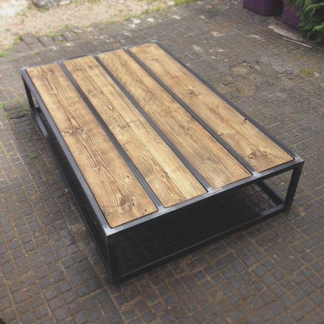 Revive Joinery - Custom reclaimed wood coffee table with box steel frame.