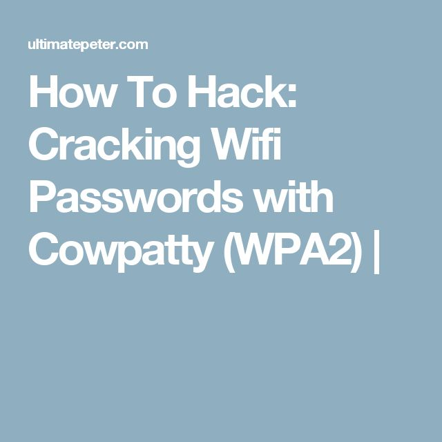 How To Hack: Cracking Wifi Passwords with Cowpatty (WPA2) |