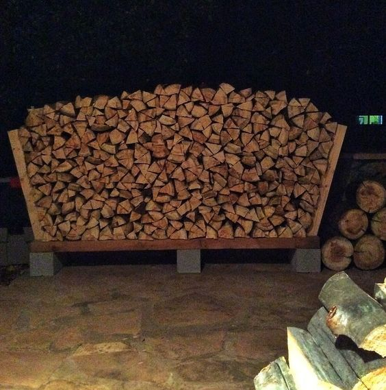 How to build a fire wood rack with cinder blocks and landscape timbers