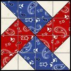 Windmill/Waterwheel 4 Patch Quilt Block - Patriotic