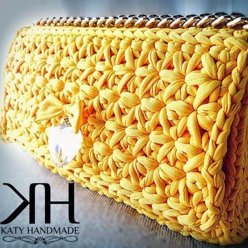 Patrones trapillo bolso de mano con punto estrella - Puntos crochet trapillo ...