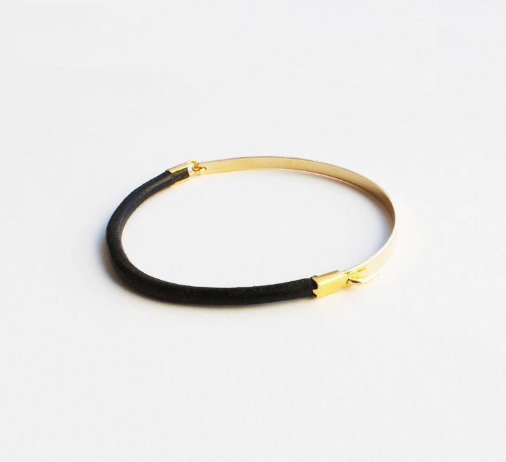 Gold Bar Bracelet, Gold Bar Black Leather Bracelet, Gold Black Leather Bangle, Minimalist Leather Bracelet. by InbalDesigns on Etsy https://www.etsy.com/uk/listing/481556669/gold-bar-bracelet-gold-bar-black-leather
