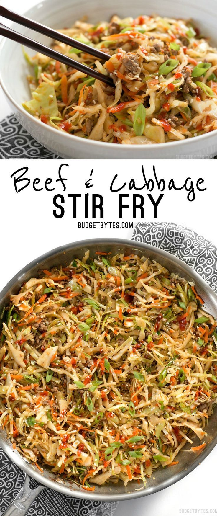 This fast and easy Beef and Cabbage Stir Fry is a filling low carb dinner with big flavor. http://BudgetBytes.com