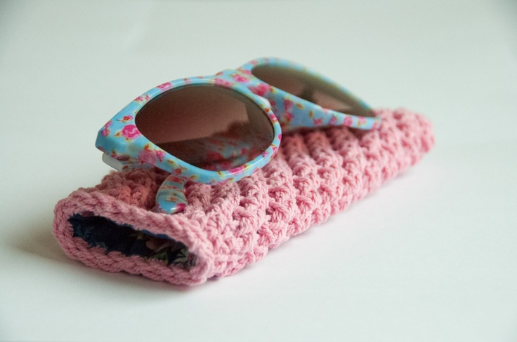 Crocheted sunglass pouch - pink. $25.00, via Etsy.