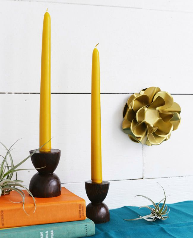 DIY mid century inspired taper candle holders