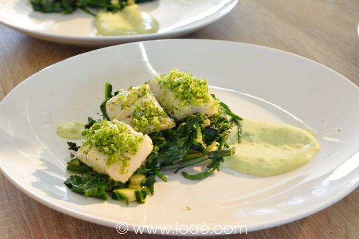 Laurent Favier- Légumes verts (salicorne, pousses d'épinard, courgettes, brocolis) et maigre en direct du port de Royan