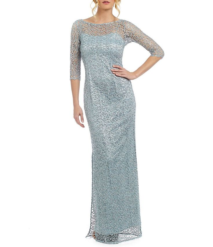 Misty Blue:Kay Unger Sequined Lace Illusion Gown
