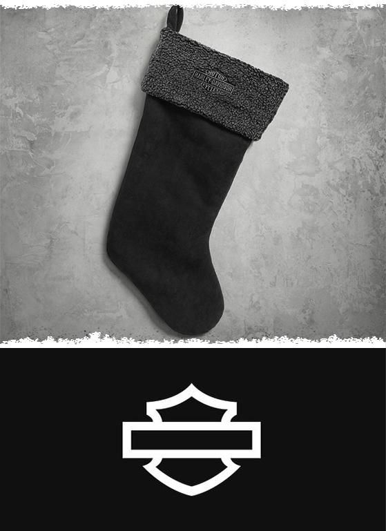 Why do red and white fur when you can hang a Holiday Stocking with highway style? | Harley-Davidson Holiday Stocking