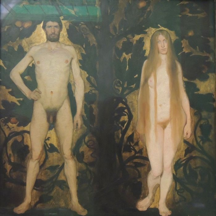 Statens Museum for kunst, Copenhagen, Denmark. Harald Slott-Moller's Adam and Eve.