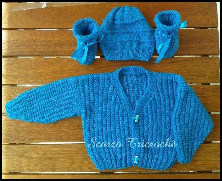 Scorzo Tricroche: Casaquinho de bebê de tricô para menino com receit...