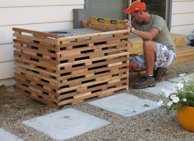 AC cover idea from http://house-pet.blogspot.ca/2010/09/hide-that-ugly-ac-unit.html?m=1; we could build with old shutters