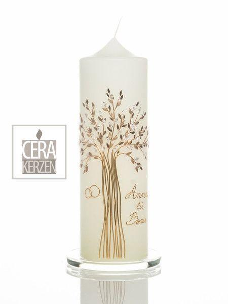 Hochzeitskerzen & Beleuchtung - Hochzeitskerze Lebensbaum Gold - ein Designerstück von claudia-slanzi bei DaWanda