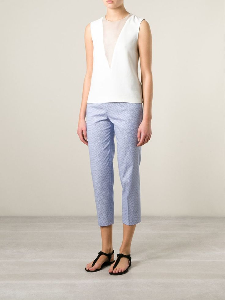 White and blue stretch cotton geometric print trousers from Piazza Sempione