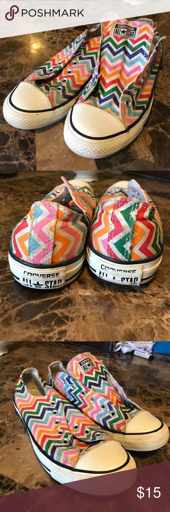Chevron converse Rainbow chevron chuck Taylors. Men's size 8 women's size 10. Comes with new laces! Converse Shoes Athletic Shoes