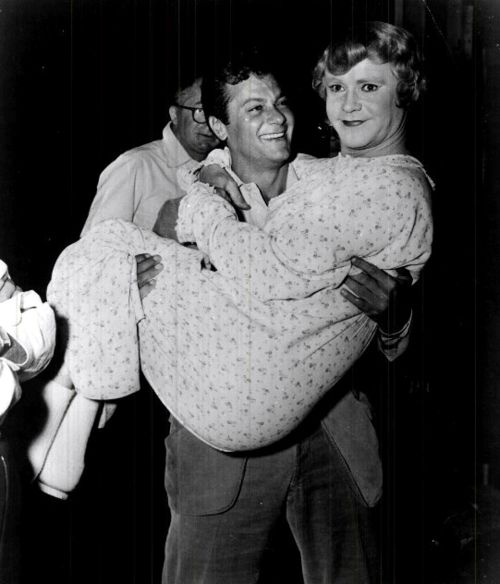 Tony Curtis and Jack Lemmon on the set of Some Like It Hot (1959), one of my favorite movies!