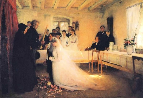 Pascal-Adolphe-Jean Dagnan-Bouveret -- The Blessing of the Young Couple Before Marriage