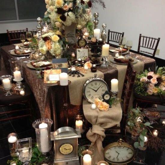 Steam Punk Wedding Design | Steampunk Wedding / Steampunk wedding table design. Mahogany chiavari ...