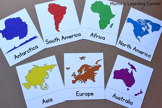 Continent Cards: Free Printables to learn the continents
