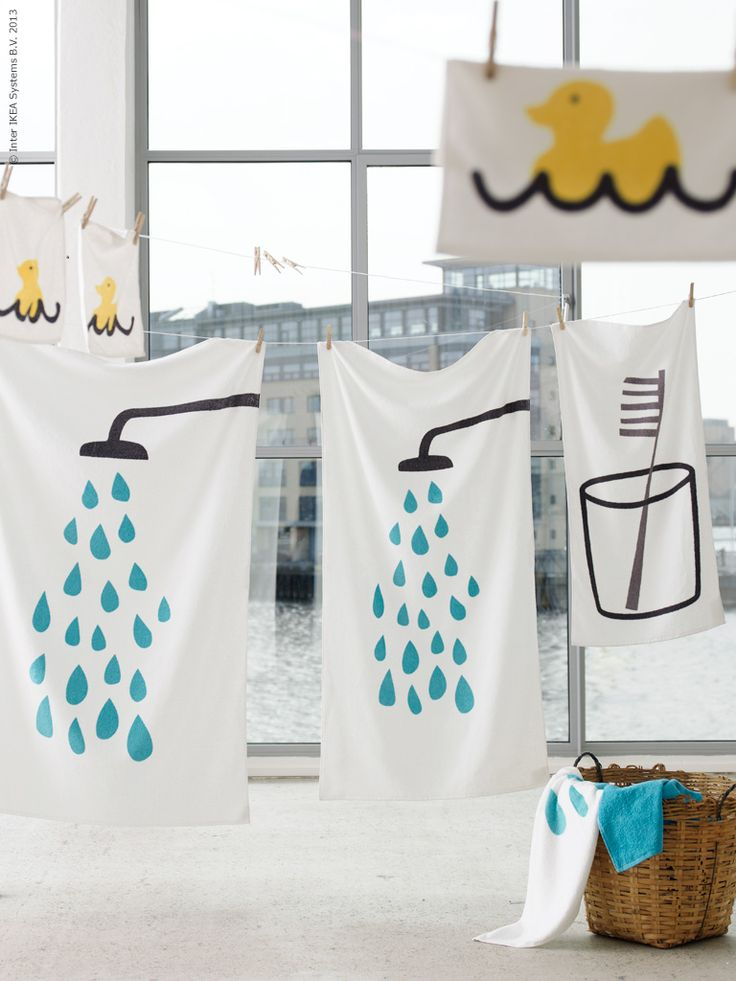 Ikea bathroom...How cute is this?! This could be such an easy diy with white towels and fabric paint